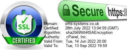 XMS Systems SSL Certificate Certified